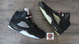 Comparison - Air Jordan 5 V Retro Black Metallic Silver (2000 vs 2016)