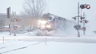 Metra plowing through a January snowstorm