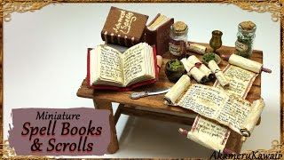 Miniature Scrolls & Spell Books - Halloween paper/fabric Tutorial