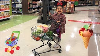 Sally Pretend Play Kids Shopping for Healthy Food!! Nursery Rhymes song for children