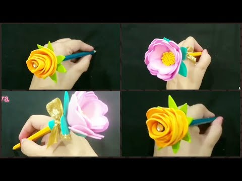 DIY FLOWER PEN PENCIL TOPPER/BACK TO SCHOOL SUPPLIES /ARTWITHALIYA