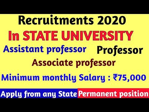 ASSISTANT PROFESSOR, ASSOCIATE PROFESSOR, PROFESSOR VACANCIES IN STATE UNIVERSITY/ 7TH PAY SCALE