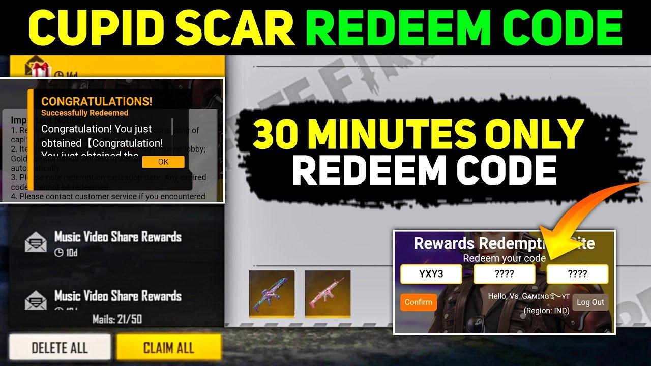Cupid scar redeem code in tamil   ff redeem code today