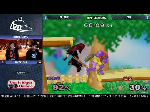 Smash Valley 7 - Zain (Marth) vs. P1 | Duck (Samus) - SSBM - Top 8, Losers Semis