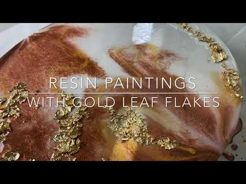 TUTORIAL // DIY Epoxy Resin painting With Gold Leaves