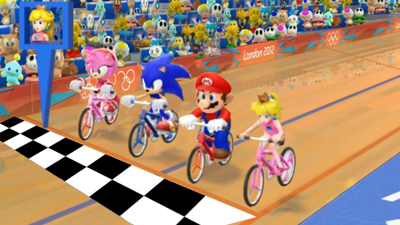 Mario & Sonic at the London 2012 Olympic Games CyCling – Mario, Peach, Sonic, amy