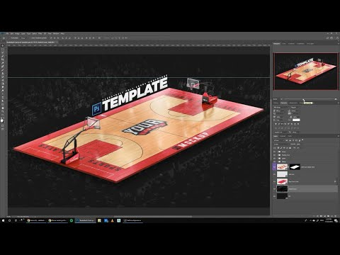 How to design Basketball Courts | Photoshop Template tutorial