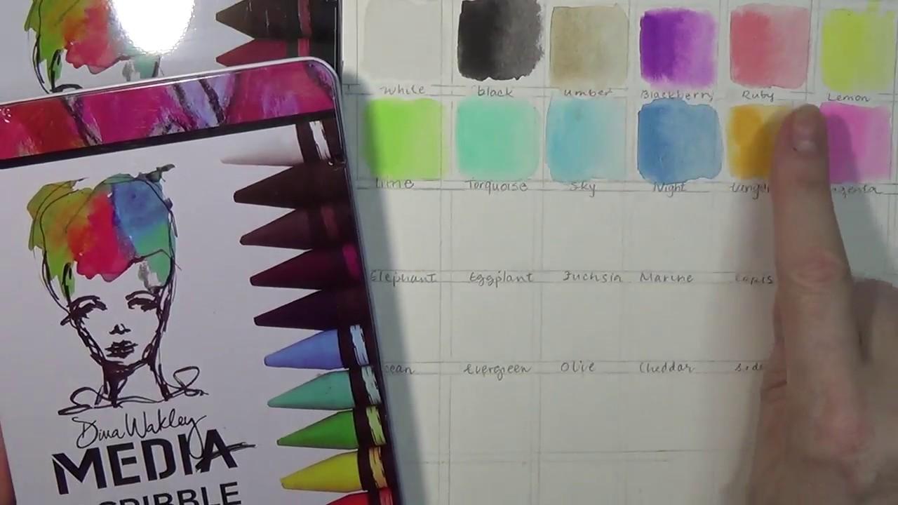 Dina Wakley Media Scribble Sticks 3 12//Pkg