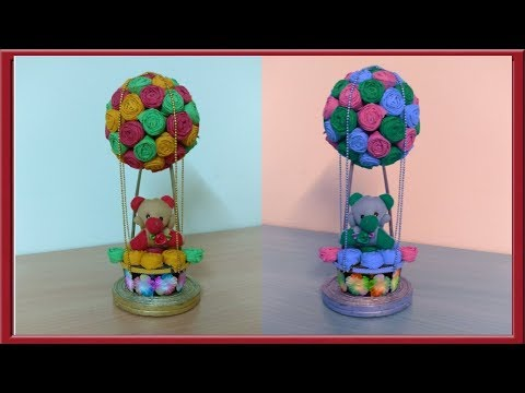 DIY | Baby Shower Centerpiece or Hot Air balloon using old smiley ball | craft