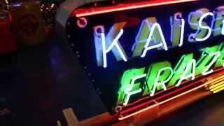 1940s-50s KAISER FRAZER Double sided Porcelain Neon Dealership Sign