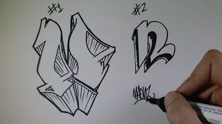 """How to draw Graffiti Letter """"N"""" on paper"""