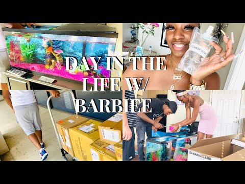 DAY IN THE LIFE W/ BARBIEE | I BOUGHT A HUGE FISH TANK 😱 + NEW LIPGLOSS BASE VEN