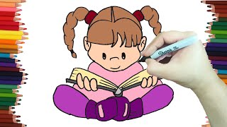 Niña leyendo dibujo