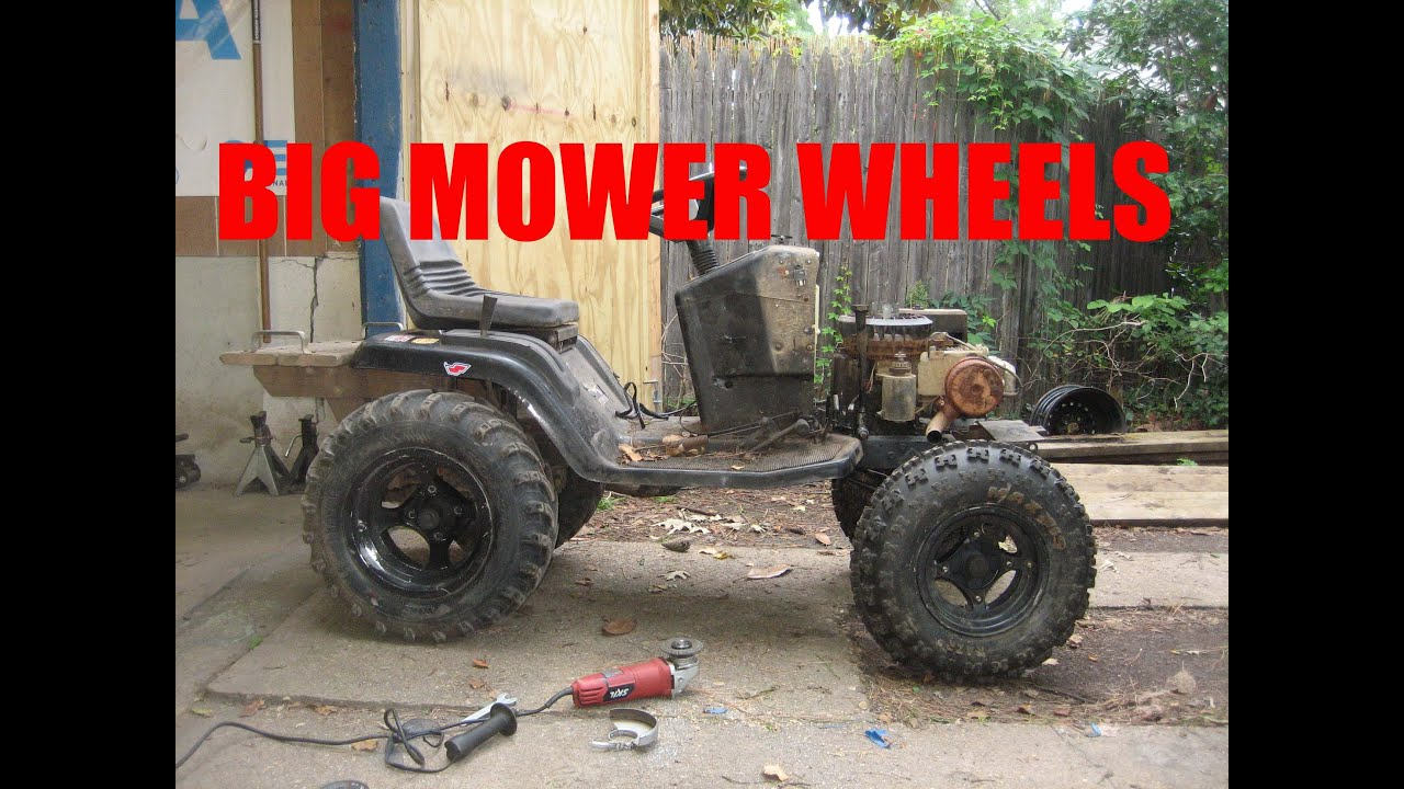 Large Tractor Wheels : Big front tires for the rompin mower plus build details