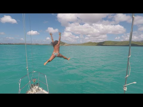 E7: Single Handed Woman Sailing In Antigua Fixing Pump In Head Dinghy Sailing