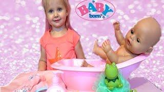 Кукла Беби Бон Катя.Купаем пупсика. Катя и Эльвира Мамы и Дочки  DOLL BABY BORN KIDS
