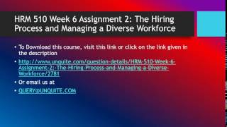 Hrm 510 week 6 assignment 2 the hiring ...