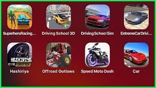 Superhero Racing Car Stunts,Driving School 3d,Extreme Car Driving Simulator,Hashiriya,OffroadOutlaws screenshot 2