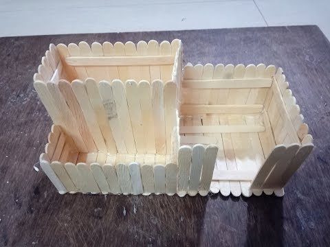DIY:3 Compartment popsicle sticks Desk Organizer for OfficePen,PencilStand,VisitingCard,StickyNotes