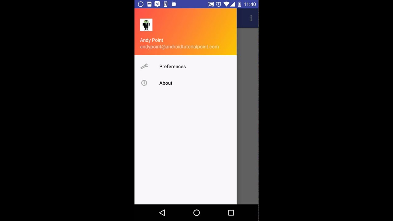 android navigation drawer tutorial video 2