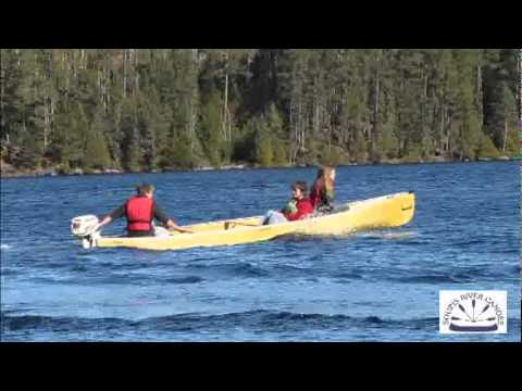 Souris River Canoes square stern canoe with gas motor Videos