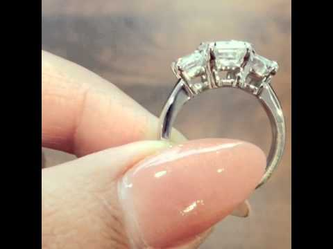 video:3-Stone Emerald Diamond Engagement Ring