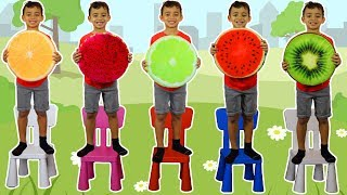 Five Little Babies Jumping on the Bed Nursery Rhyme Songs   Kids Song with Fruits