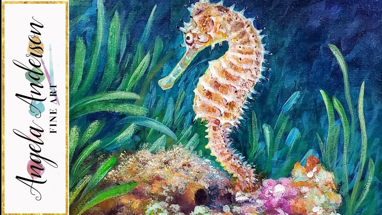 Seahorse Acrylic Painting Live Tutorial Youtube