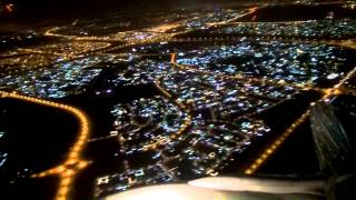 Awesome Take-Off Dubai by Night - Flying over Burj Khalifa