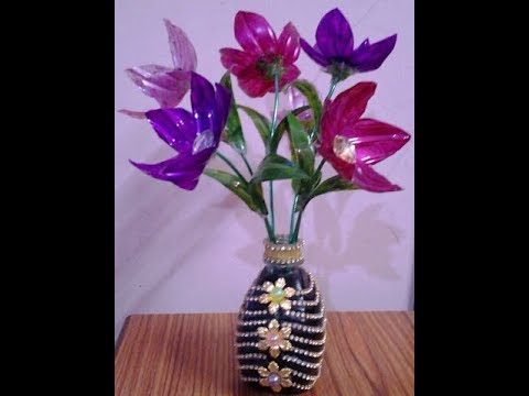 Best Out Of Waste Plastic Bottles Converted To Pretty Flowers With Flower Vase Youtube