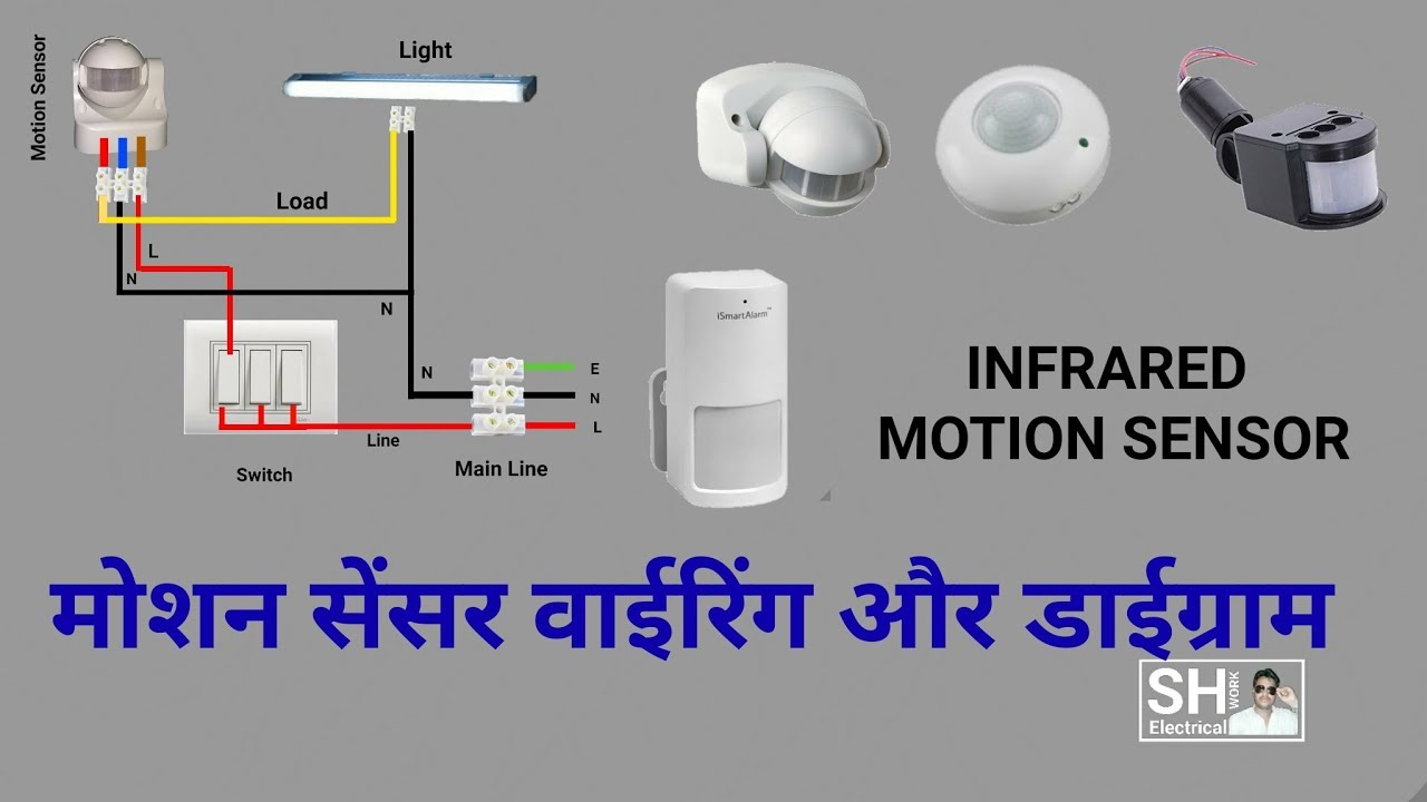 How to Install PIR Motion Sensor connection & Diagram Wall Mount Motion Sensor Light Switch Wiring Diagram on