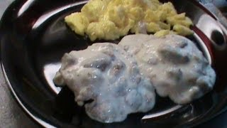 Sawmill Gravy Over Biscuits With Scrambled Eggs