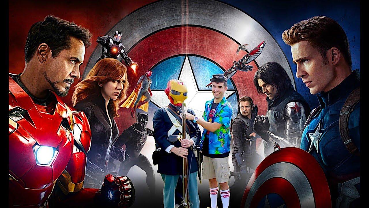Captain America & Iron Man Vs. Civil War Reenactors - YouTube