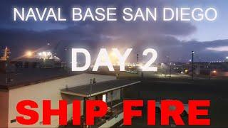 Горит корабль USS Bonhomme Richard, Naval base San Diego. Day 2