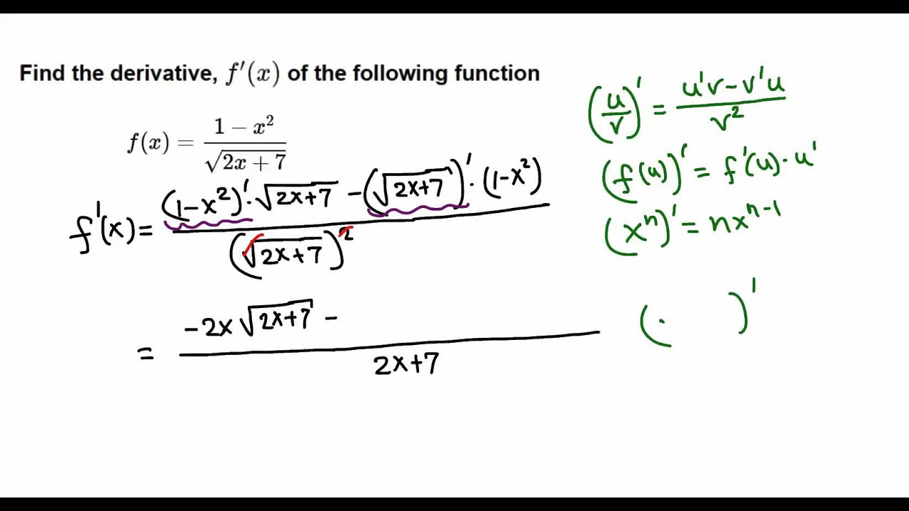 calculus chain rule with quotient rule example youtube