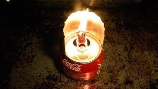 Керосинка своими руками (Масляная лампа)(Как из банки кока колы, куска проволоки и бинта сделать керосинку? Очень просто, смотрите видео., 2013-02-25T16:44:33.000Z)