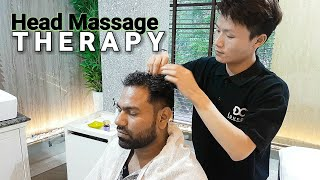 Relaxing head massage therapy in professional saloon ASMR videos.
