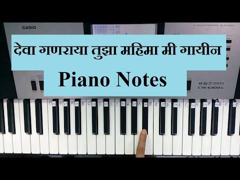 Deva Ganaraya Tuza Mahima Mi Gain || Easy Piano Songs For Beginners || Easy Piano Songs Notes