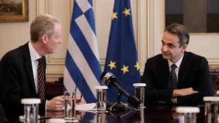 Συνάντηση Κ. Μητσοτάκη με τον Αντιπρόεδρο της Ευρωπαϊκής Τράπεζας Επενδύσεων, Andrew McDowell