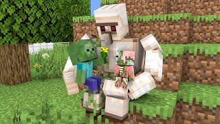 Monster School : Iron Golem and 2 Baby Zombie - Sad Story - Minecraft Animation