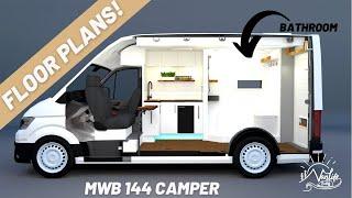 Camper Van Blue Prİnts MWB 144 | FULL BATHROOM and FIXED BED in a Small Camper | Vanlife Builds