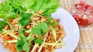 [thai Food] Crispy Shrimp With Green Mango Salad (yum Goong Fu)