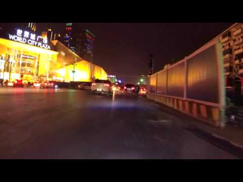 Wuhan streets at night - Driving around Guanggu Optical Valley to HUST University