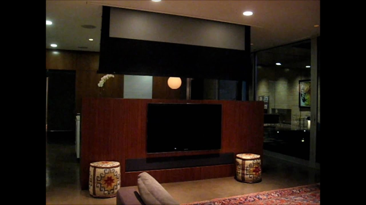 Los angeles media room with motorized home theater screen for Motorized home theater screen