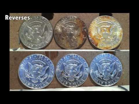Cleaning tarnished silver coins - Evaluation of laser