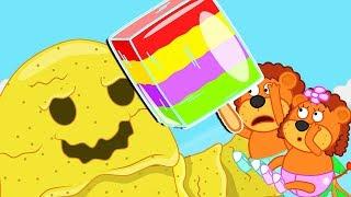 Lion Family ⛱️ Sandman and Rainbow Ice Cream Cartoon for Kids