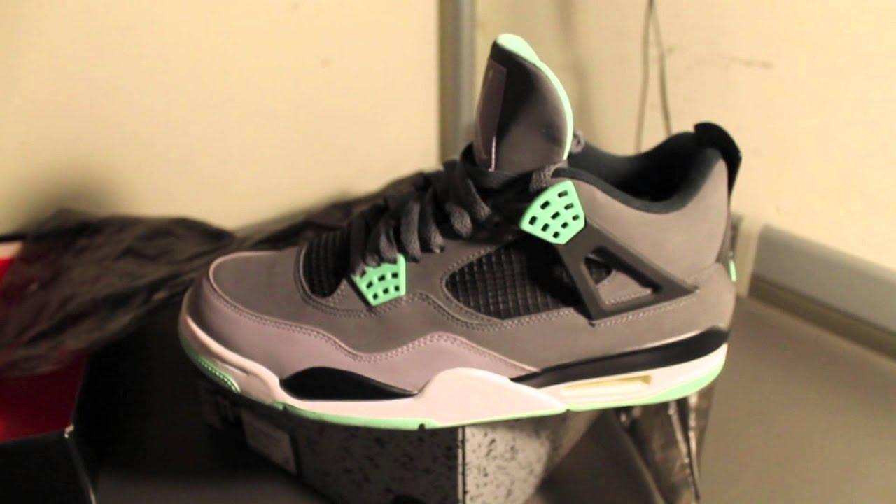 4f93f3199adbf1 Jordan Green Glow 4s Unboxing