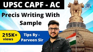 PRECIS WRITING WITH SAMPLE PASSAGE, MATERIAL IN DESCRIPTION