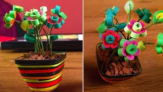 DIY Quilling Miniature Flower Pot In 3D | Quilling Flowers