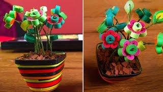 DIY Quilling Miniature Flower Pot In 3D | Quilling Flowers